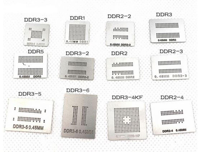 DDR1 DDR2 DDR2-2 DDR2-3 DDR3 DDR5 RAM BGA Reballing Rework Reflow Schablonen Set