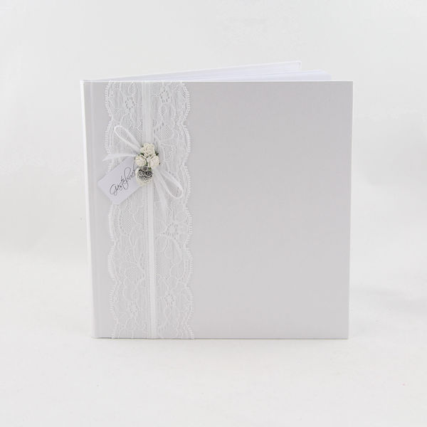 """Gästebuch /""""Guest Book/"""" ivory 94 Seiten Hochzeit Hochzeitsgästebuch Buchalbum"""