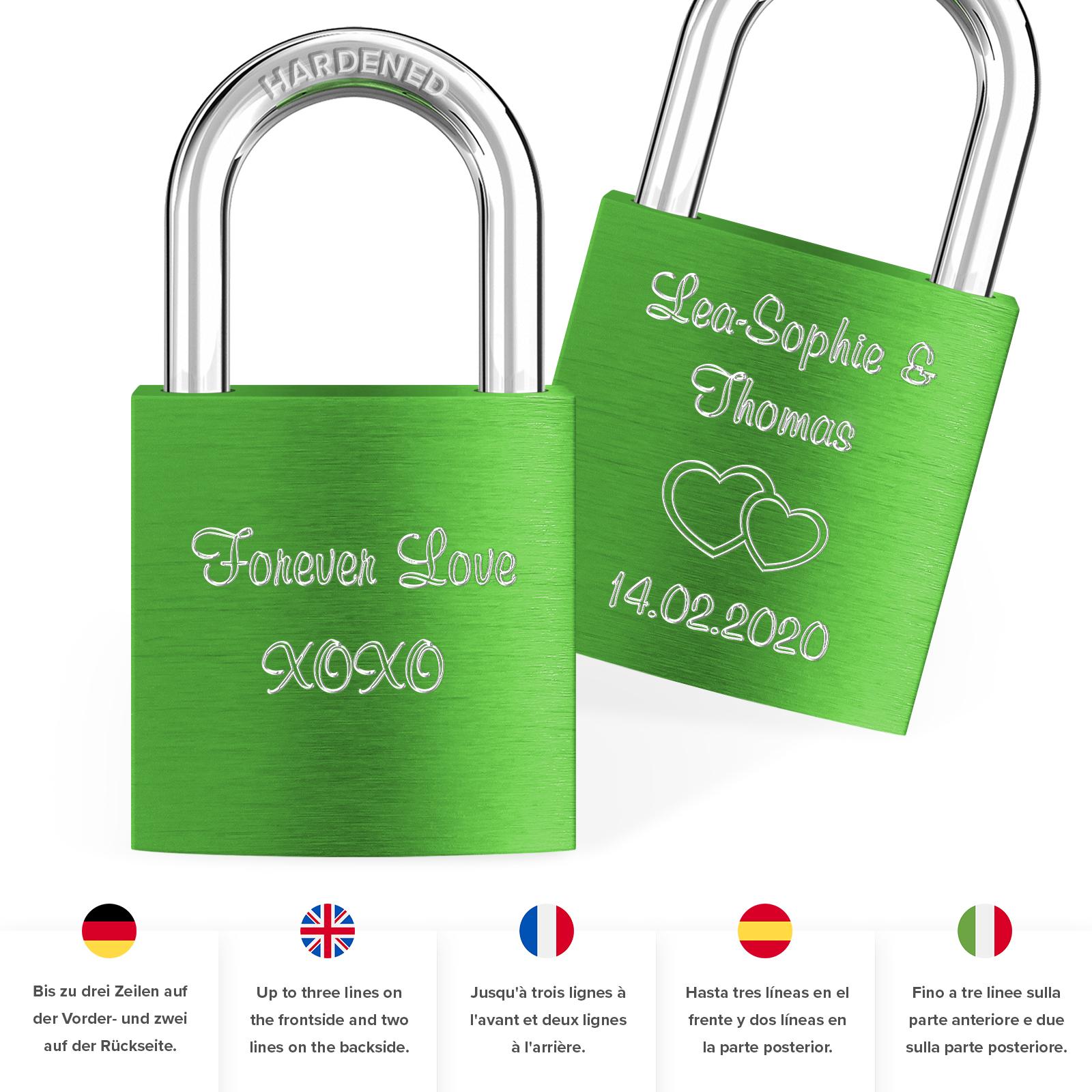 Indexbild 66 - Liebesschloss mit Gravur 10 Farben Liebes Schloss Wunschgravur Love Geschenkidee