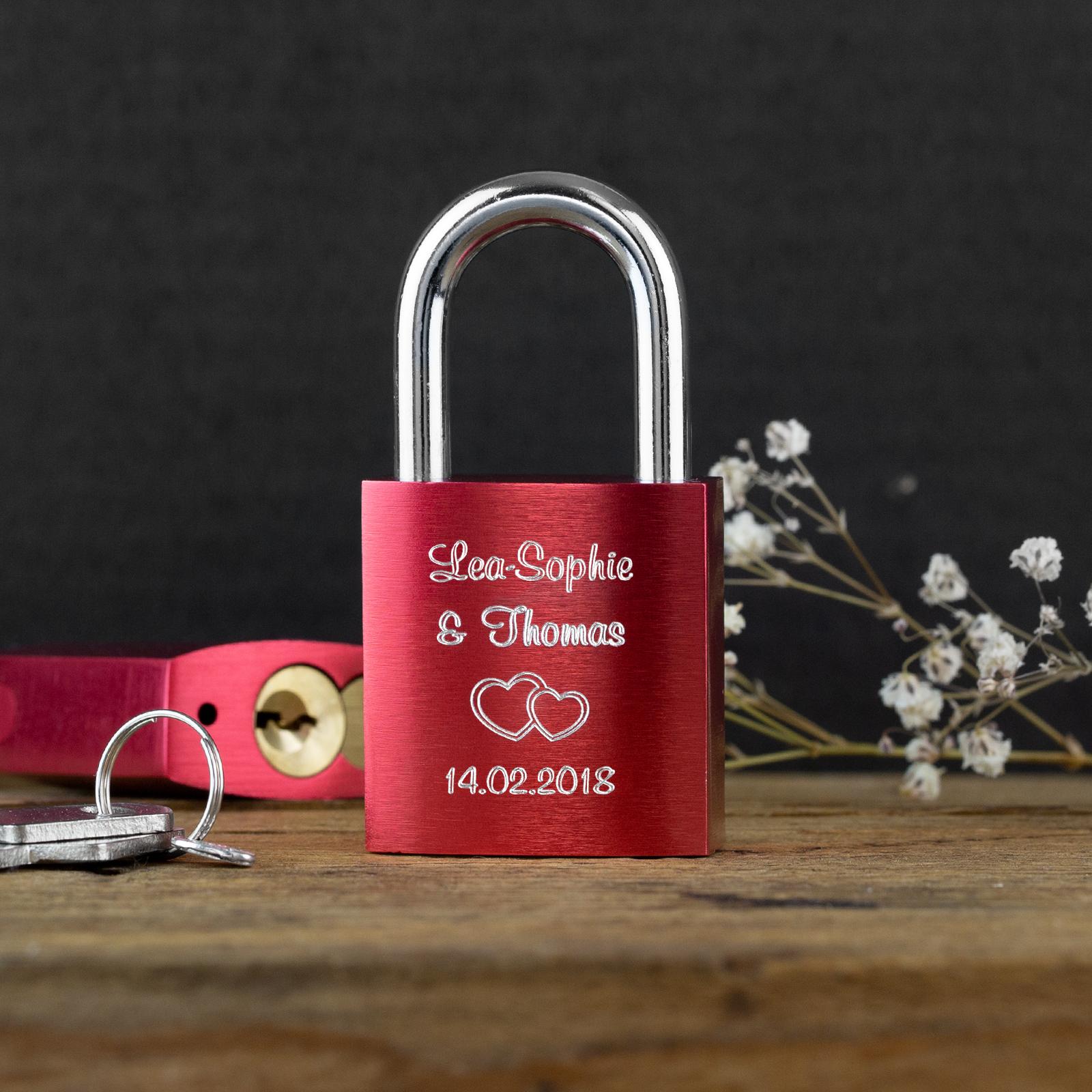 Indexbild 12 - Liebesschloss mit Gravur 10 Farben Liebes Schloss Wunschgravur Love Geschenkidee