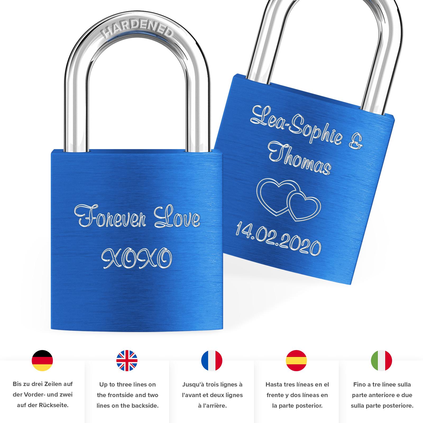 Indexbild 50 - Liebesschloss mit Gravur 10 Farben Liebes Schloss Wunschgravur Love Geschenkidee