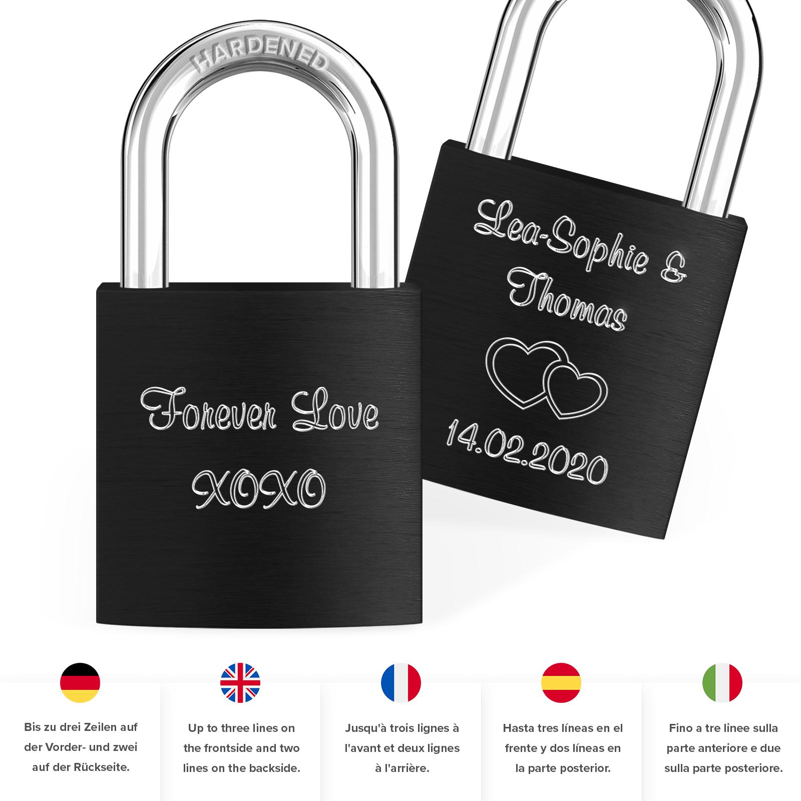 Indexbild 75 - Liebesschloss mit Gravur 10 Farben Liebes Schloss Wunschgravur Love Geschenkidee