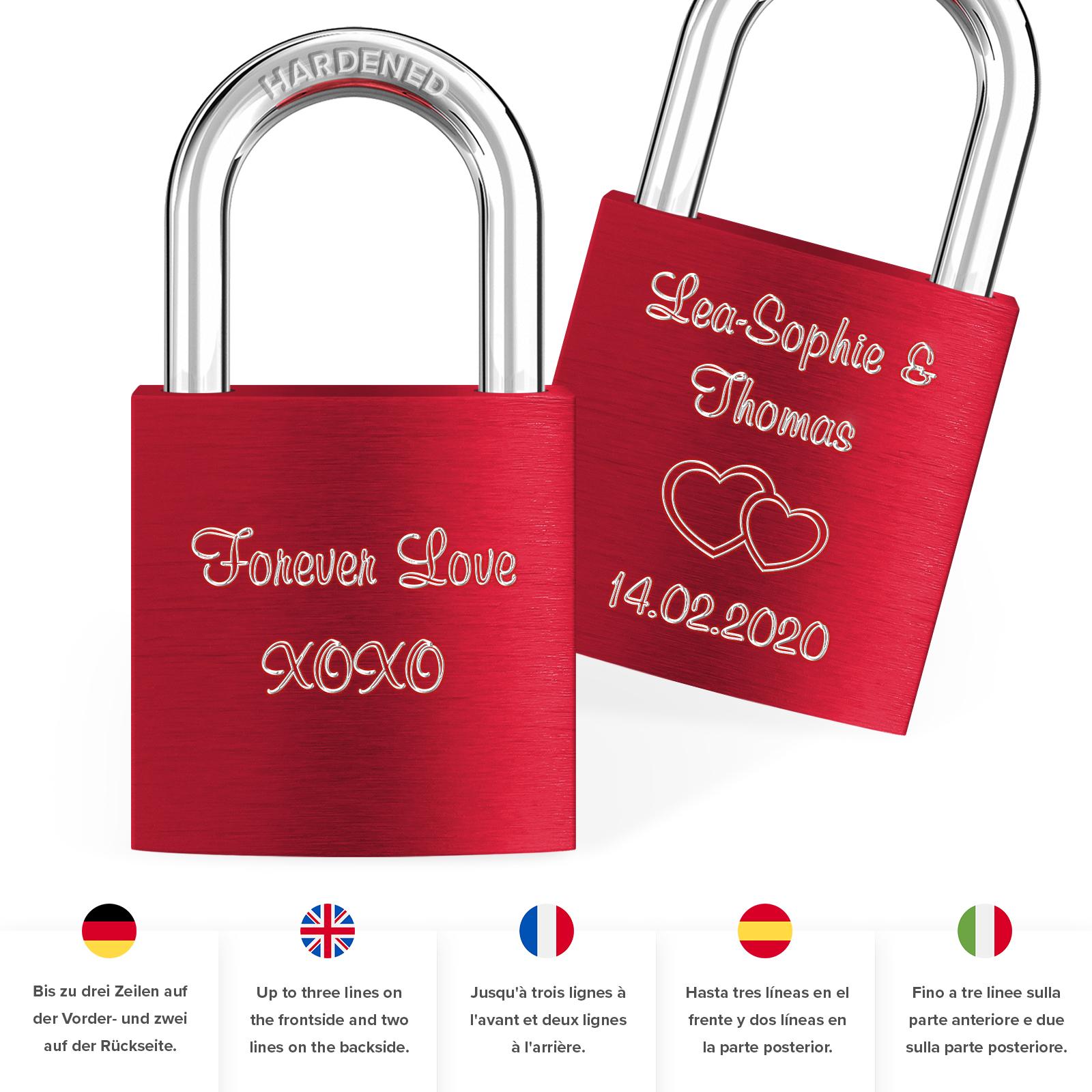 Indexbild 10 - Liebesschloss mit Gravur 10 Farben Liebes Schloss Wunschgravur Love Geschenkidee