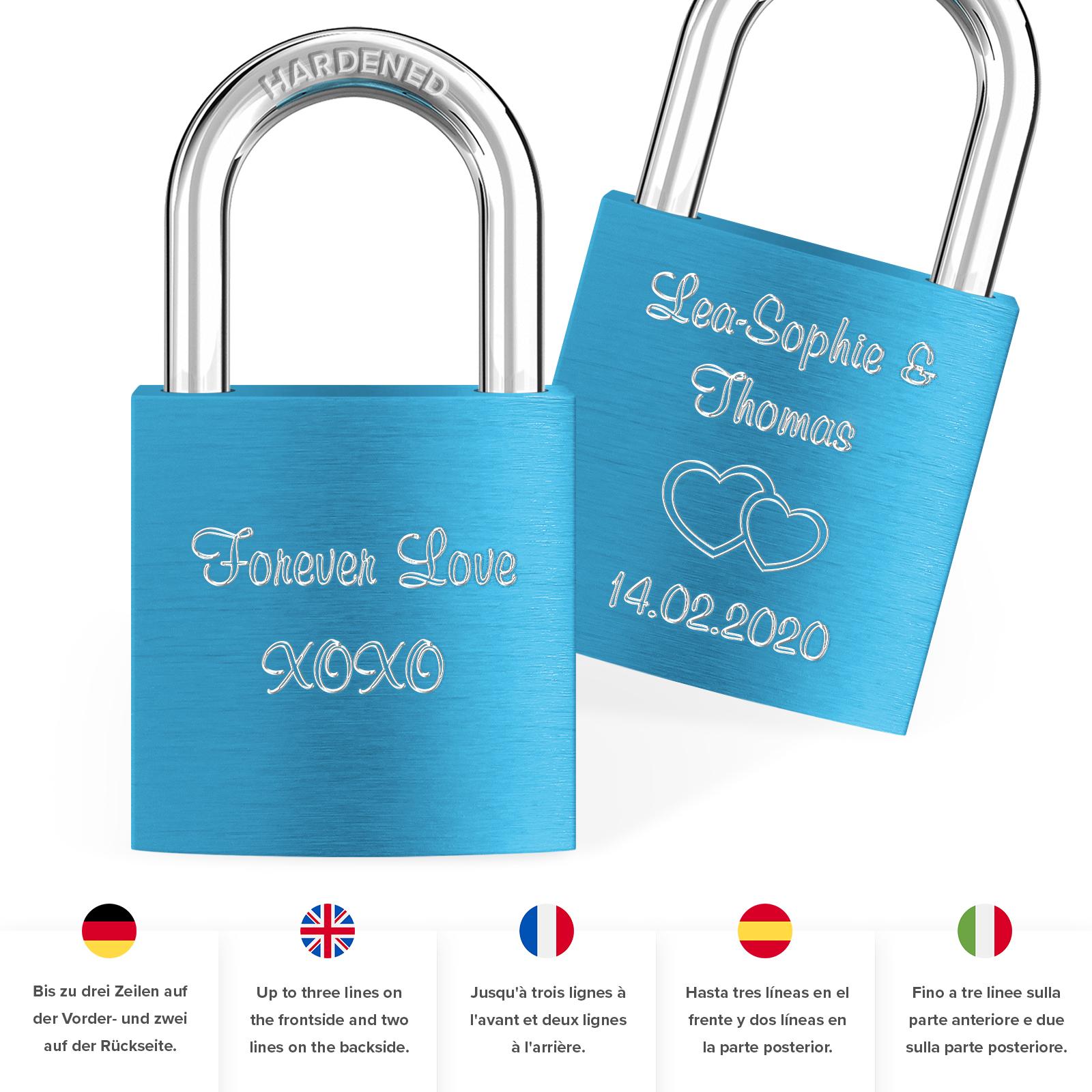 Indexbild 58 - Liebesschloss mit Gravur 10 Farben Liebes Schloss Wunschgravur Love Geschenkidee