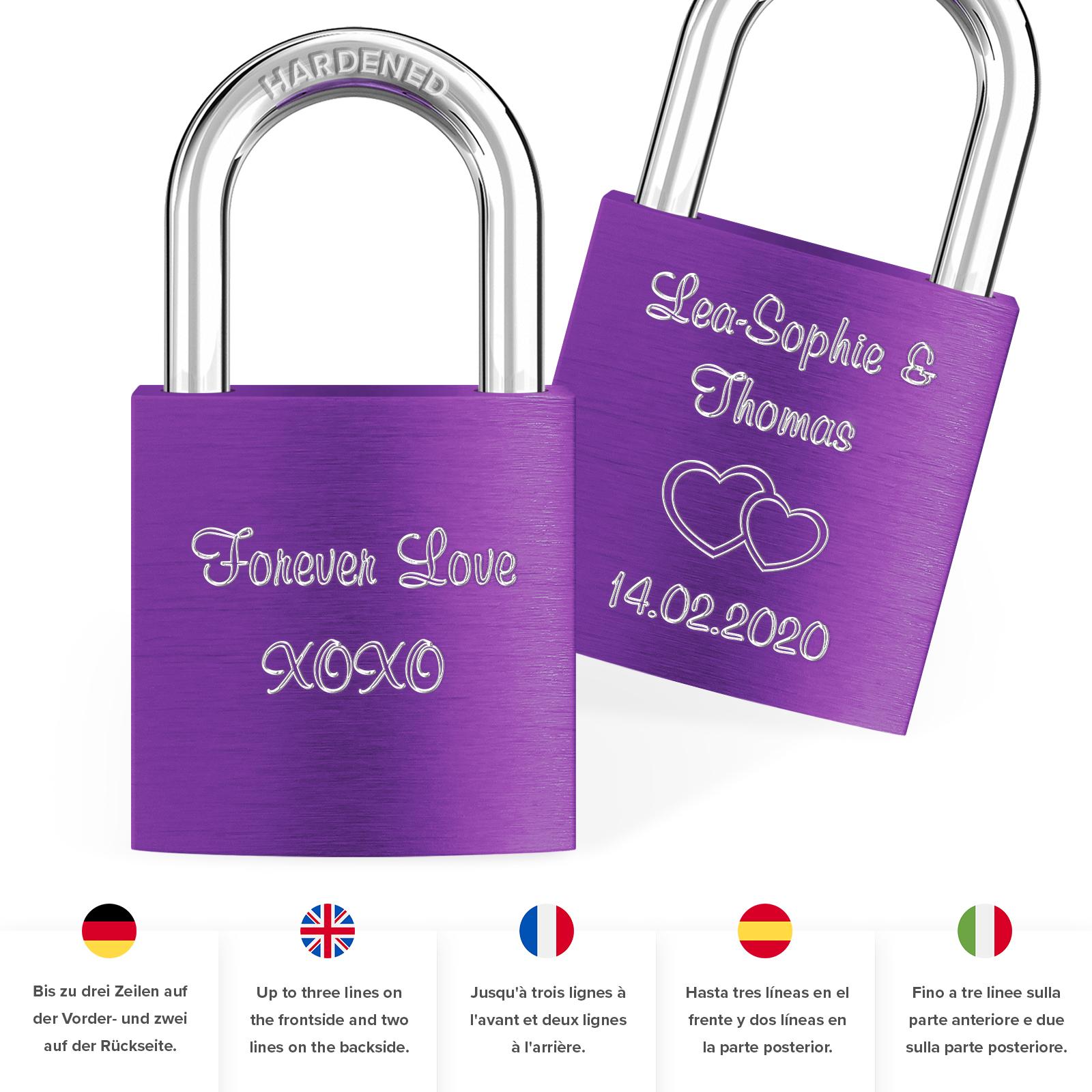 Indexbild 42 - Liebesschloss mit Gravur 10 Farben Liebes Schloss Wunschgravur Love Geschenkidee