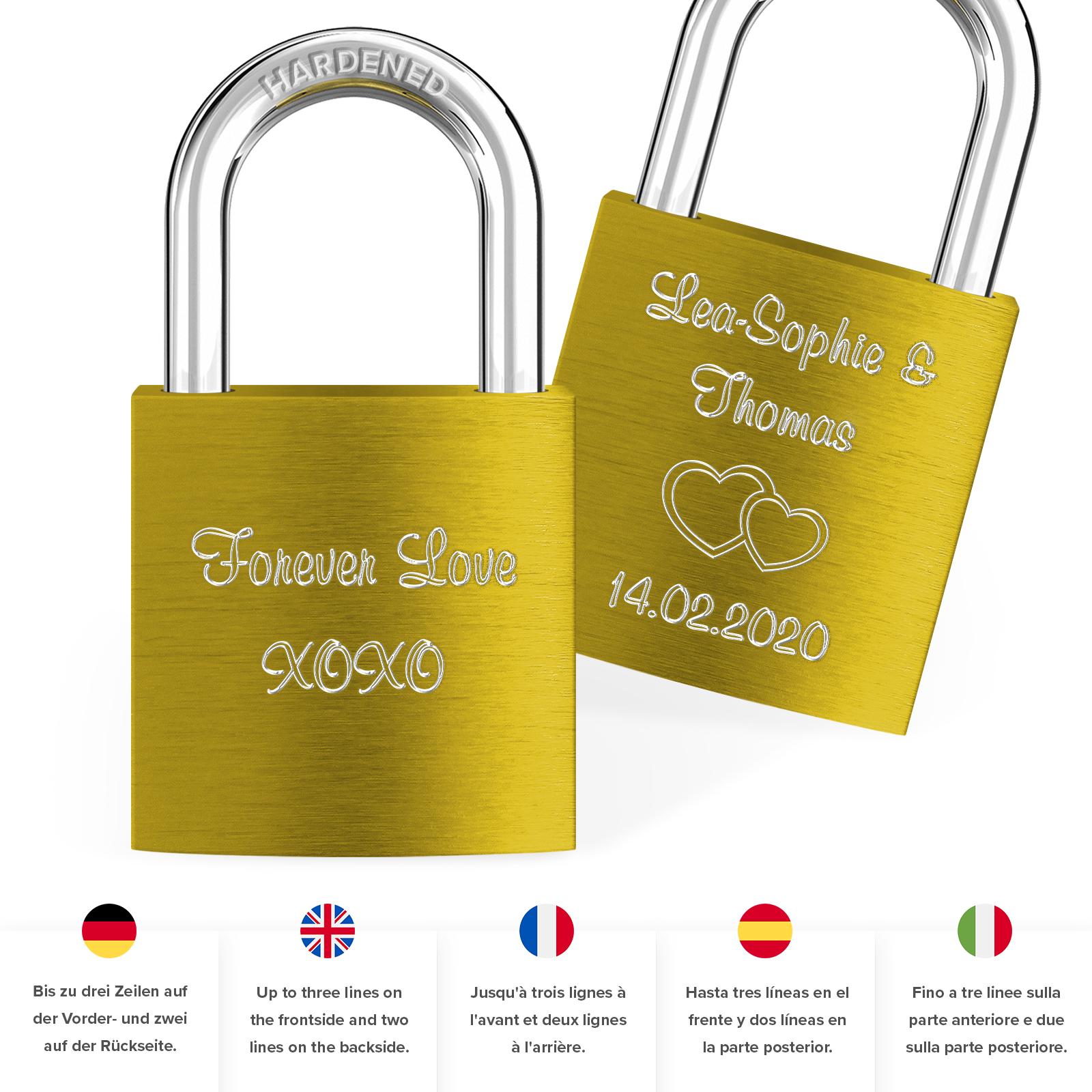 Indexbild 18 - Liebesschloss mit Gravur 10 Farben Liebes Schloss Wunschgravur Love Geschenkidee