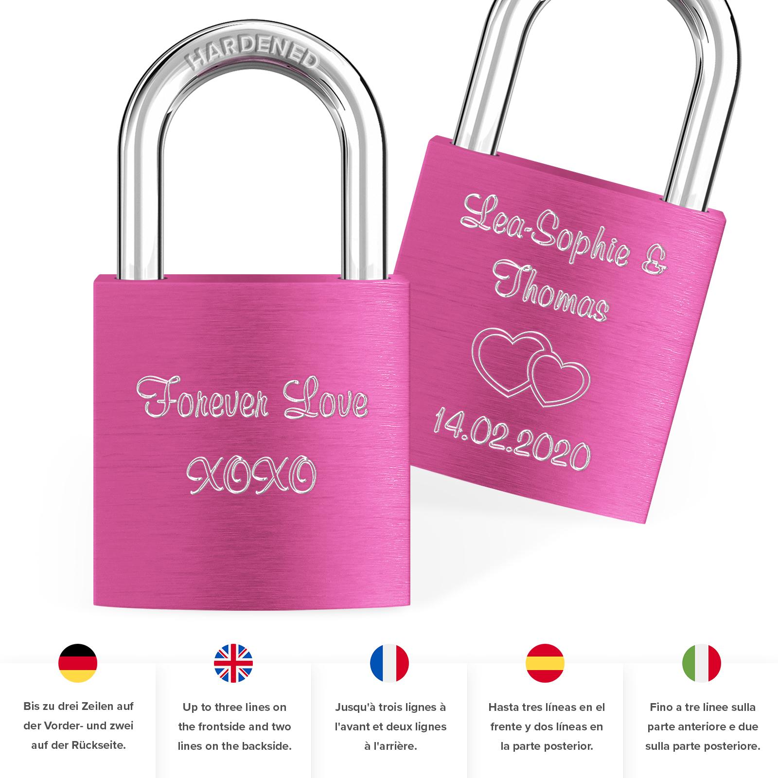 Indexbild 34 - Liebesschloss mit Gravur 10 Farben Liebes Schloss Wunschgravur Love Geschenkidee