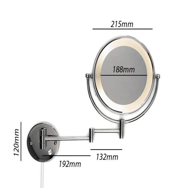 kosmetikspiegel schminkspiegel wandspiegel mit led beleuchtung und 5 fach zoom ebay. Black Bedroom Furniture Sets. Home Design Ideas