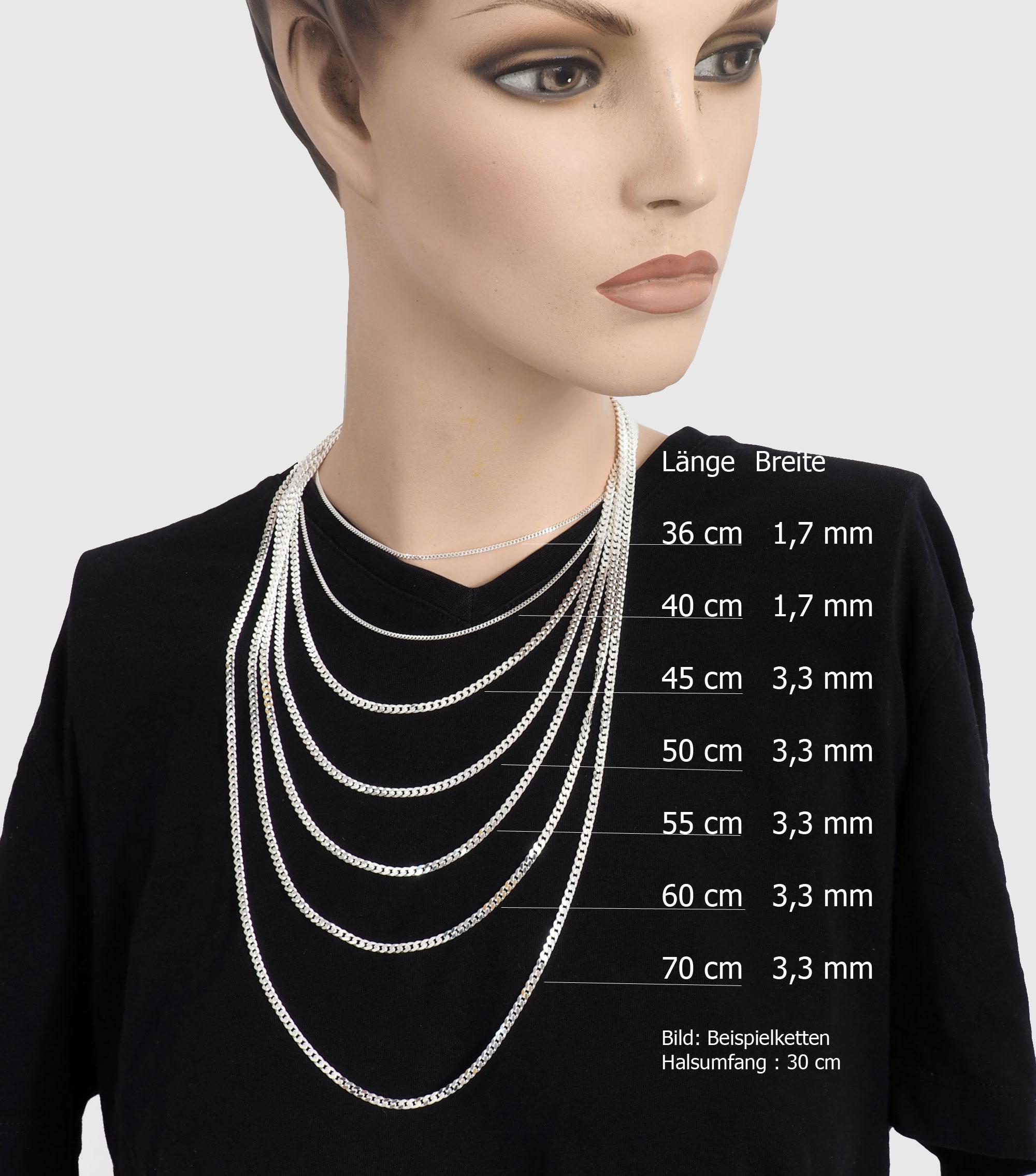 50cm Silberkette 925 Echt Silber Halskette Erbsenkette 45cm