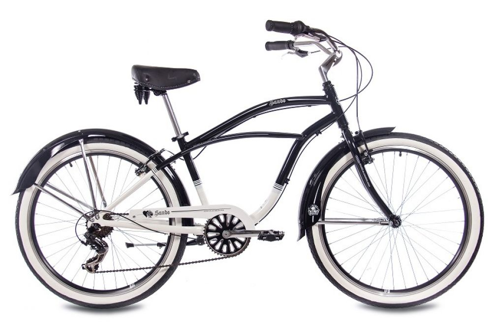 26 zoll alu beachcruiser herrenrad chrisson sando mit 6g shimano schwarz weiss 4250585409392 ebay. Black Bedroom Furniture Sets. Home Design Ideas