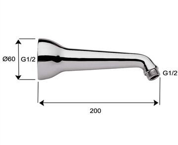 Wandarm Ausleger// Kopfbrause Duscharm 20 cm Messing//verchromt Brausearm