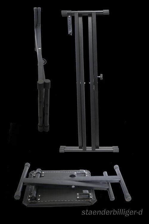 Set Keyboardständer doppelstrebig+Klavierbank+Aufsatz Ständer Pianositz Erweite