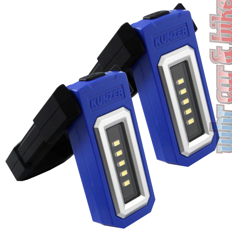 2x Kunzer pl-051 SMD-DEL Batterie Lampe de Travail Alu Orange Travail Lampe Li-Ion