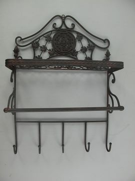 Details about G259: Rustic Wall Shelf with Hook bar,Hanging Shelf,Kitchen  Shelves,Iron Brown