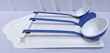 G1557 ayudante de cocina Set retro cuchara cenador con cuchara chapa esmaltes blanco azul