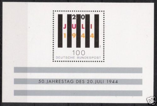 100% Vrai Bund Bloc Nº 29 ** 50 Ans Hitler Attentat 1994, Cachet-afficher Le Titre D'origine 50% De RéDuction