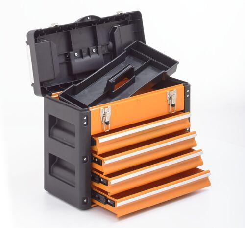 Boîte à outils 2 tiroirs métal plastique orange einlegefach barre d/'outils