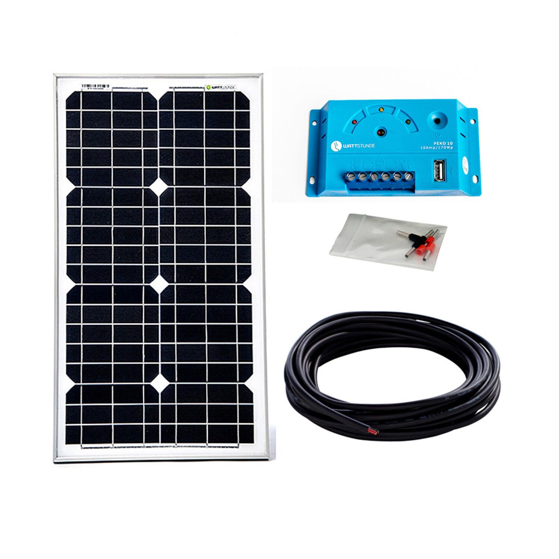 30Watt 12Volt Solar Set Solaranlage Inselanlage Garten Camping Solarmodul Modul