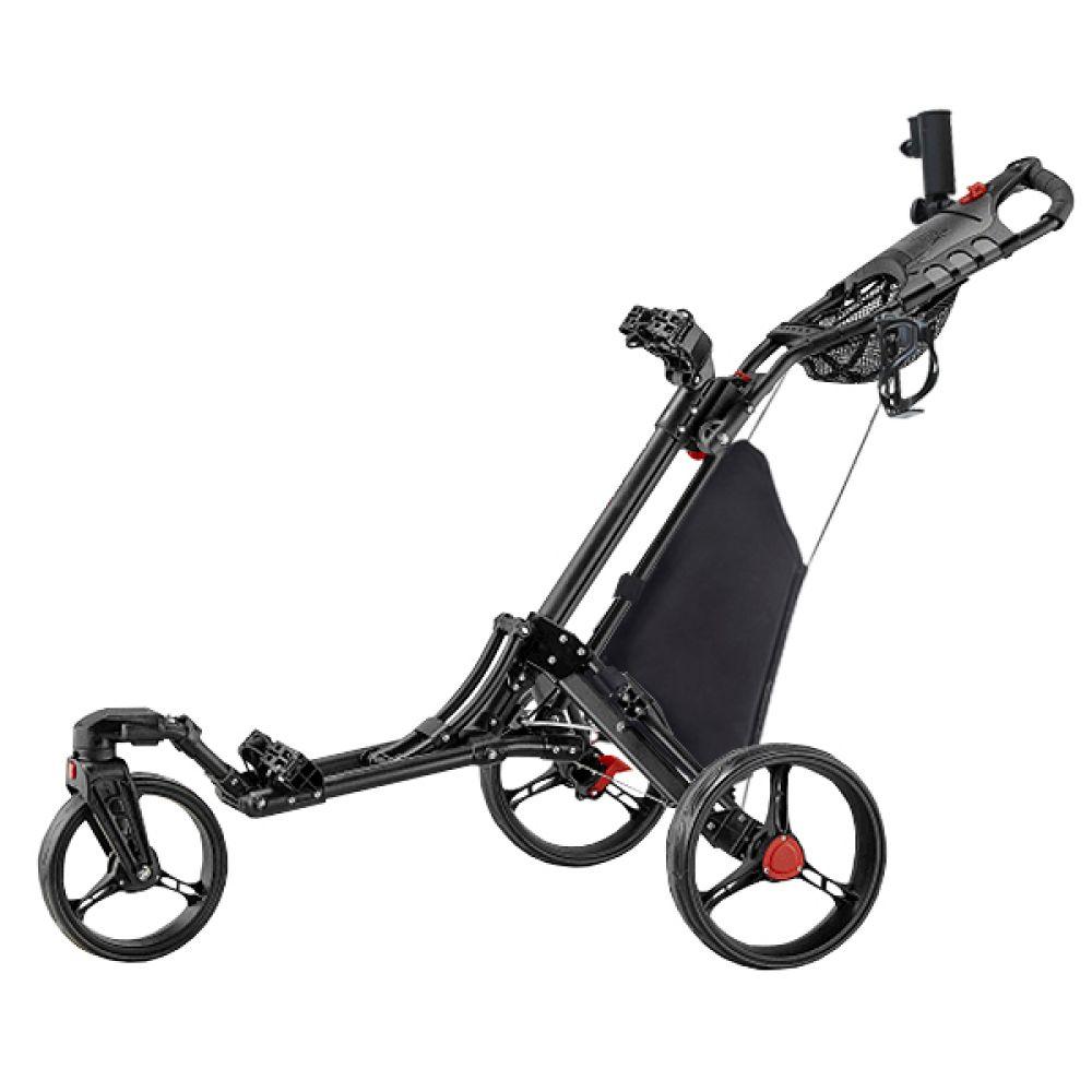 caddytek ez qf 360 swivel deluxe 3 rad golf pushtrolley 3 rad caddy schwarz ebay. Black Bedroom Furniture Sets. Home Design Ideas