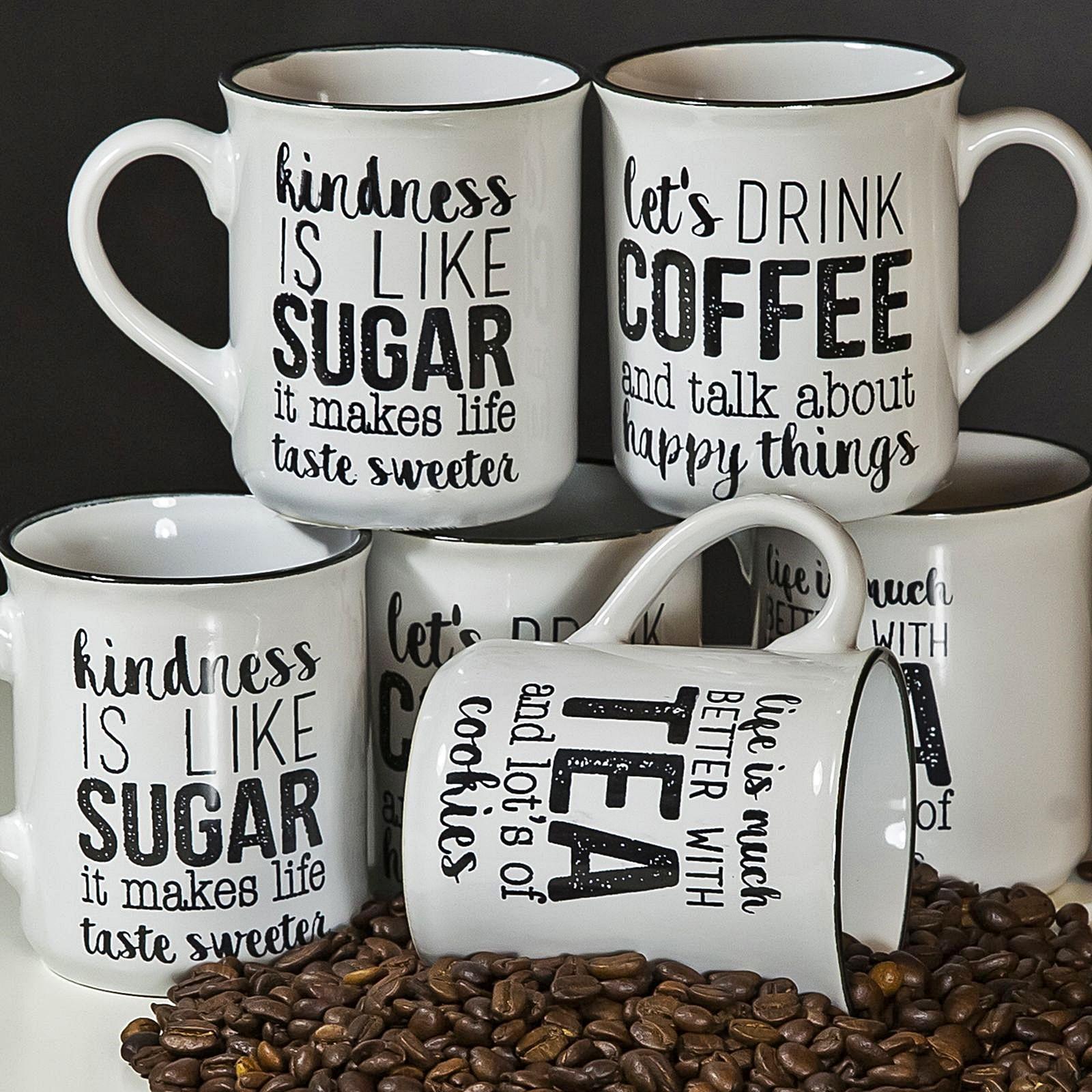 Große Tasse Kaffee : 6er set tasse tassen 300 ml kaffeetasse gro e becher keramik kaffee mug aufdruck ebay ~ A.2002-acura-tl-radio.info Haus und Dekorationen