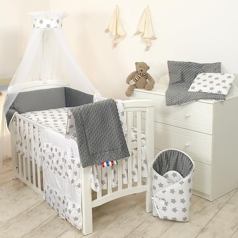9tlg Babybettwäsche Set 135x100cm für 140x70cm Bett grau Sterne ...