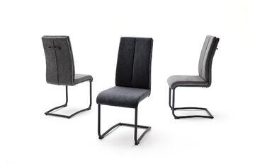 Details zu MCA 4er Set Schwingstuhl Breda Webstoff Grau Freischwinger Küchenstuhl Schwinger