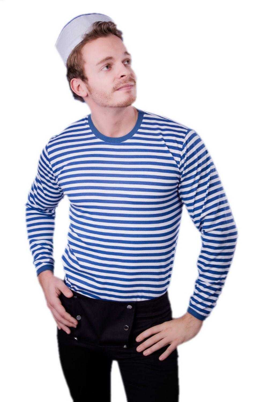 bdb1ecdcb38419 Seefahrer Matrose Oberteil T-Shirt langarm Ringelshirt blau-weiß ...