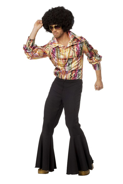 70er Jahre Disco Outfit Herren Hemd Schlager Hippie Kostum Oberteil