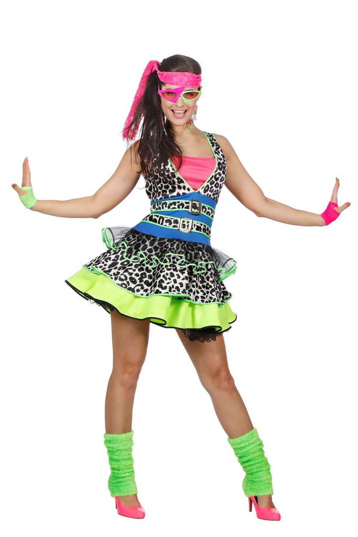 80er Jahre Party Girl Kostüm Damen Verkleidung Kleid 80er Outfit   eBay