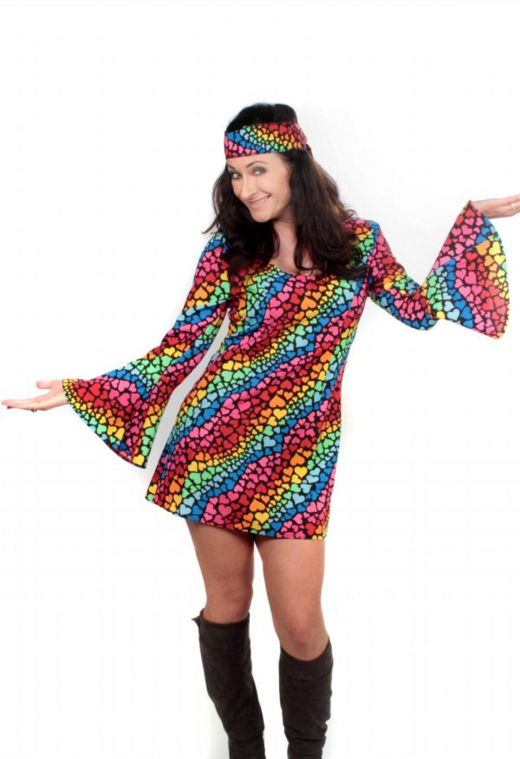 Hippie Kostum Retro Kleid Herzmuster Damen 70er Jahre Party Kleid