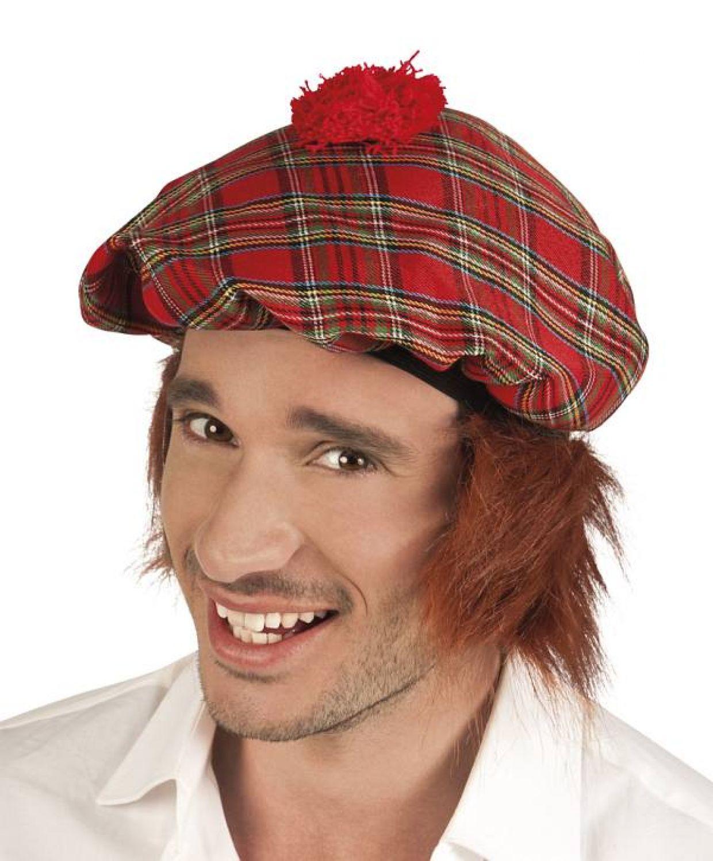 Rote Schotten Mütze Mit Haaren Schottenmütze Für Herren Männer