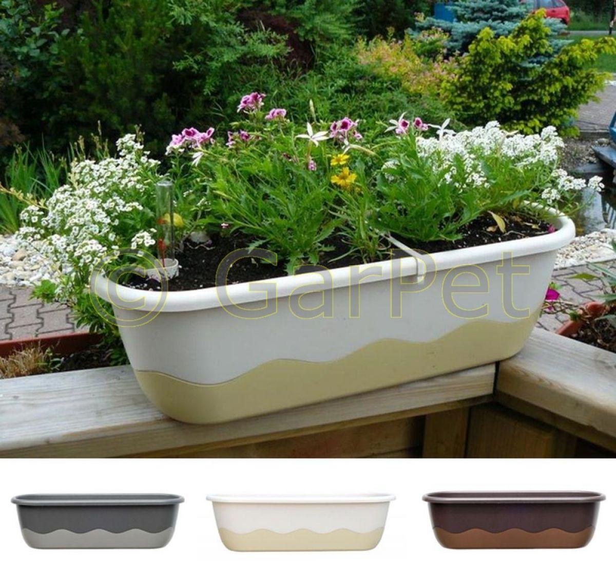 blumenkasten mit wasserspeicher mareta balkon kasten modern pflanz k bel gef ebay. Black Bedroom Furniture Sets. Home Design Ideas