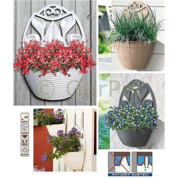 Blumentopf Wand Pflanz Topf Gefass Wandgefass Wandampel Rattan Optik Halbschale Ebay
