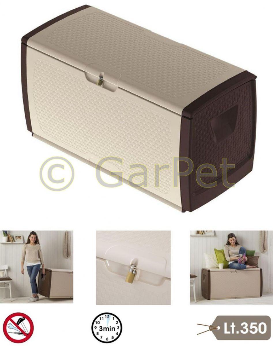 garten aufbewahrungsbox xxl auflagenbox kissen box truhe kiste mit rollen 350 l ebay. Black Bedroom Furniture Sets. Home Design Ideas