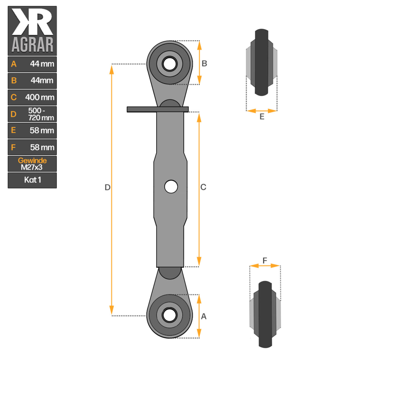 1x Gewindeoberlenker Kategorie 1-2 620-860 mm Arbeitslänge M27x3 Schlepper NEU