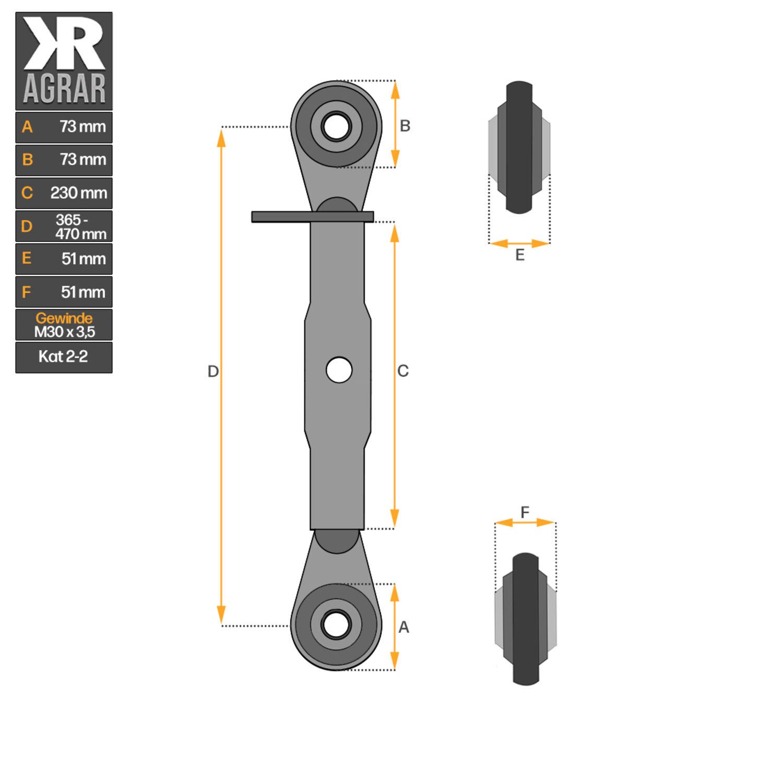 Gewindeoberlenker Kat 1-2 405 Hülse 530-740 mm Arbeitslänge Oberlenker Traktor