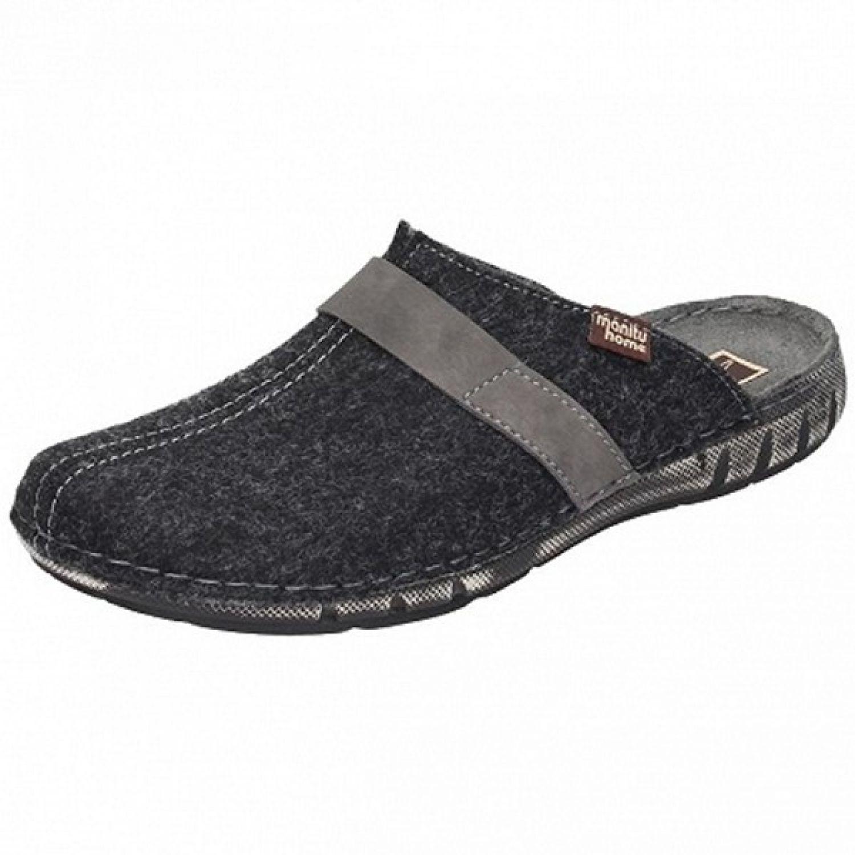 Details zu MANITU HOME Herren Hausschuhe Pantoffel schwarz 220234 Gr.41 46