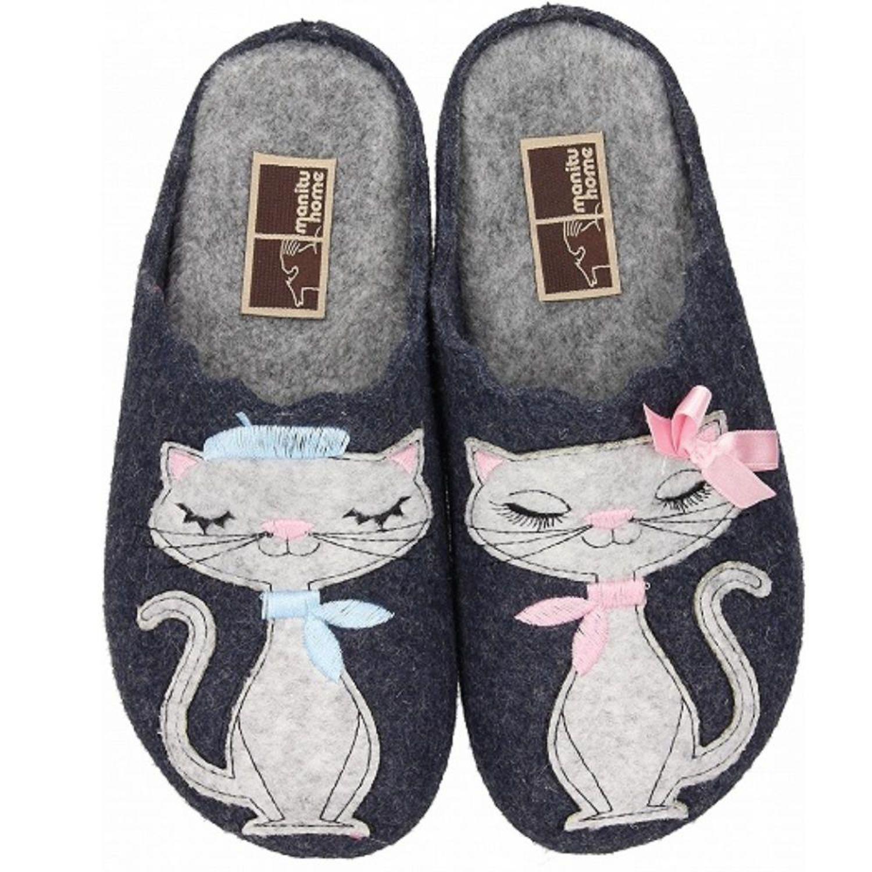 Details zu MANITU HOME Damen Hausschuh 320573 Filz süße Katzen Pärchen blau Gr.37 42