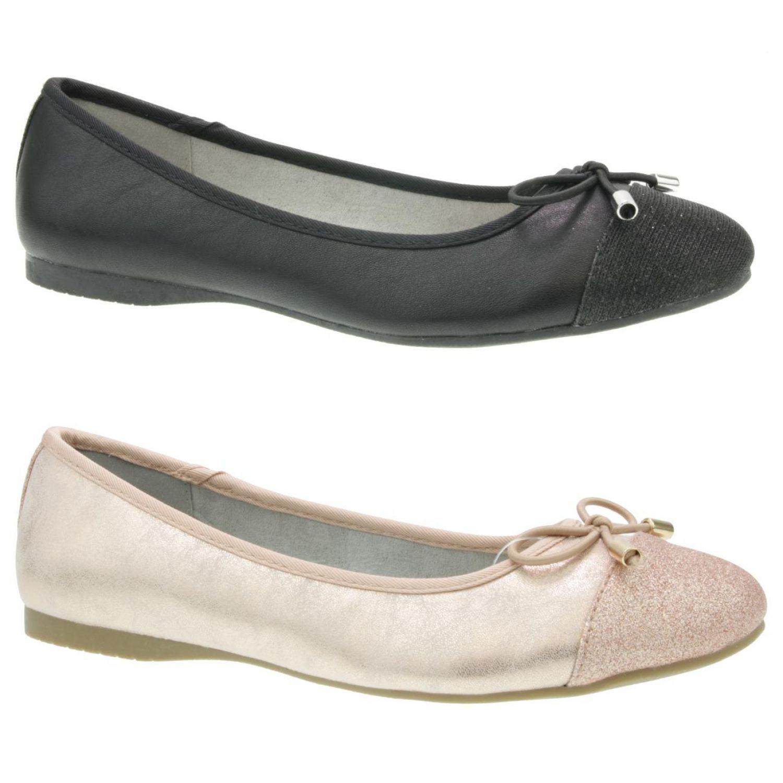 Details zu Jane Klain 221024000 trendiger Ballerina Schuh Glitzer schwarz Roségold Gr.37 42
