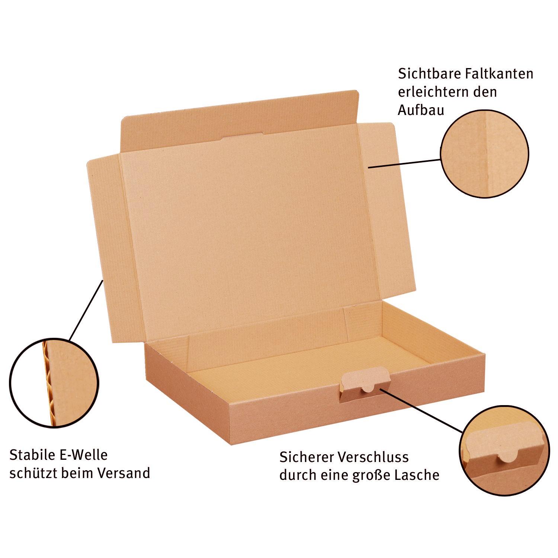 200 Maxibriefkartons 320 x 225 x 50 mm braun DIN A4 Warensendung Faltkarton