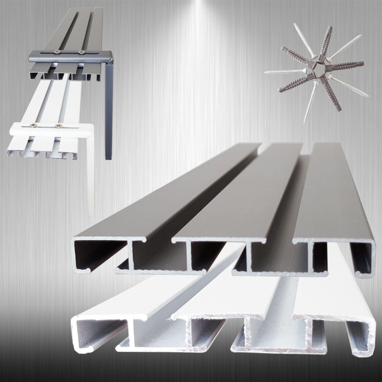 alu aluminium gardinenschiene vorhangschiene mit montage set 3 l ufig bis 5m ebay. Black Bedroom Furniture Sets. Home Design Ideas