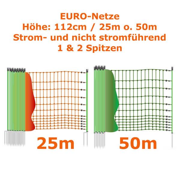 Geflügelnetz 112cm 25m 50m Euronetz Hühnerzaun Entenzaun Elektrozaun Hundezaun