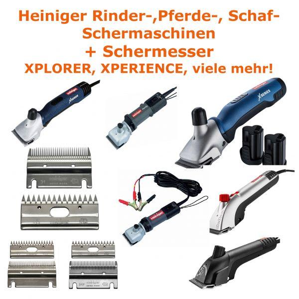 Heiniger Akku-Schermaschine Xplorer mit 2 Akkus Fellbürste für Rinder /& Pferde