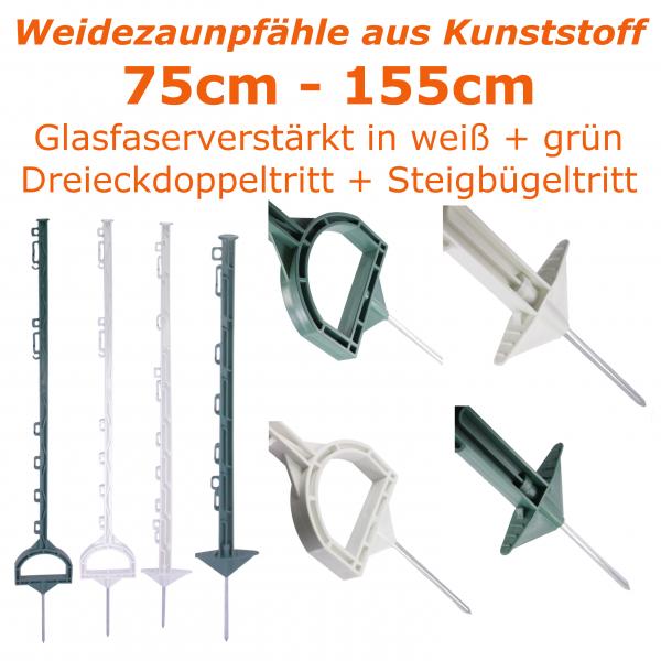 G/öbel Weidezaunpfahl PP Copo GF Kunststoffpfahl 125cm 8 Band/ösen 4 Seil/ösen mit Stahlnagel gr/ün 10 St.