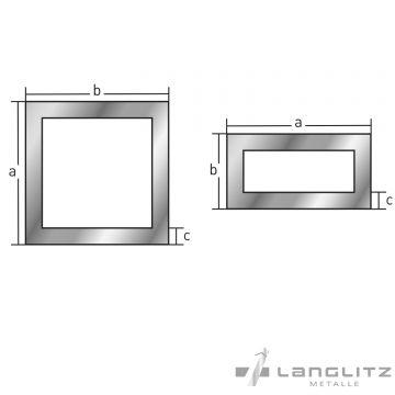 alu rechteckrohr vierkantrohr eloxiert l nge 1 3m aluminium hohlpofil aluprofil ebay. Black Bedroom Furniture Sets. Home Design Ideas