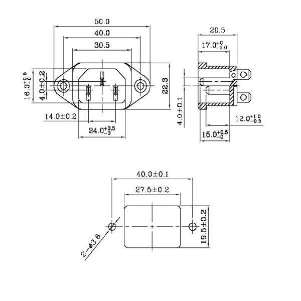 schwarz 4,8mm Flackstecker//Lötanschluss 10A//250V Kaltgeräte-Einbaustecker
