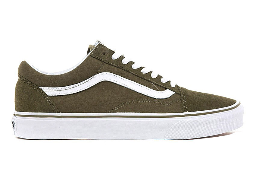 Vans Old Skool Canvas Suede Dark Olive/True White TG. 38 47