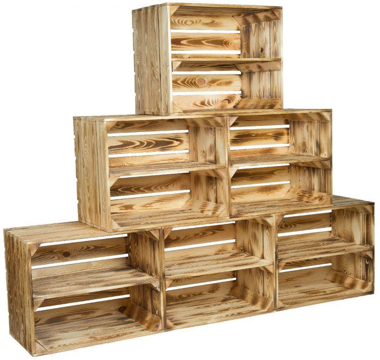 6 x massive geflammte holzkisten schuhregal ablageregal obstkisten weinkisten 4260361236579 ebay. Black Bedroom Furniture Sets. Home Design Ideas