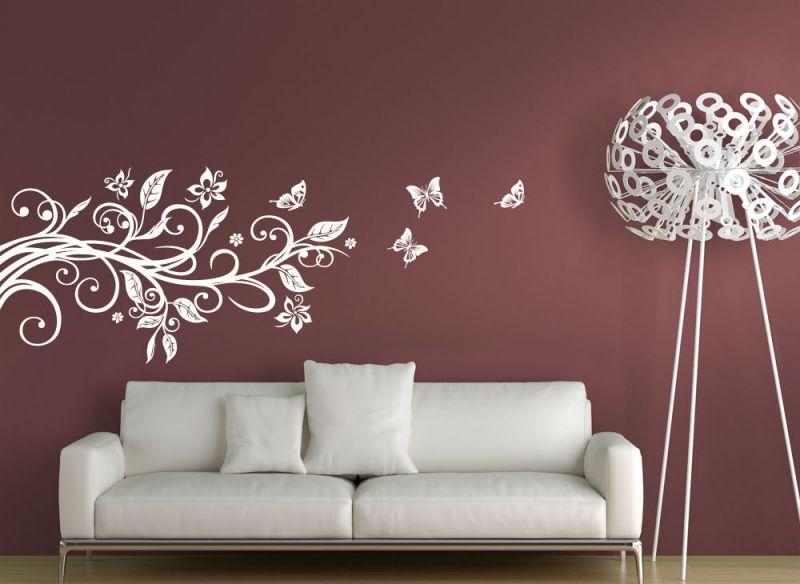 Wandtattoo Wandsticker Wandaufkleber Wohnzimmer Blumenranke Schmetterlinge W739