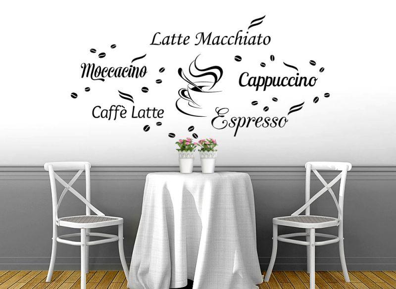wandtattoo wandsticker wandaufkleber esszimmer kaffee cappuccino espresso w1400 ebay. Black Bedroom Furniture Sets. Home Design Ideas